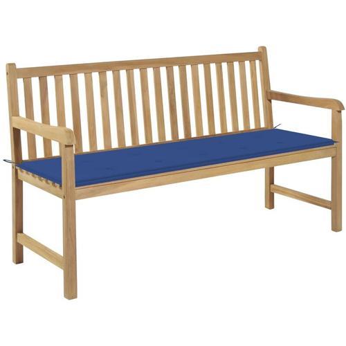 Gartenbank Massivholz Teak mit Königsblauer Auflage 150cm