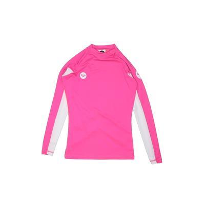 Roxy Rash Guard: Pink Solid Swimwear – Size 4