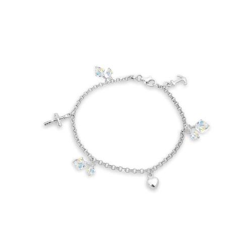 Armband Kreuz Herz Anker Swarovski® Kristalle 925 Silber Elli Silber