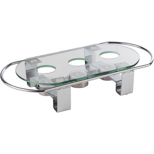APS Stövchen, Metall/Glas, 3-flammig silberfarben Tischaccessoires Geschirr, Porzellan Haushaltswaren Stövchen