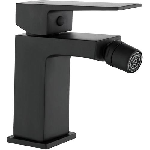 Invena - Rechteckig Geformt Becken Bidethahn Badezimmer Schwarzes Messing Keramikmischer