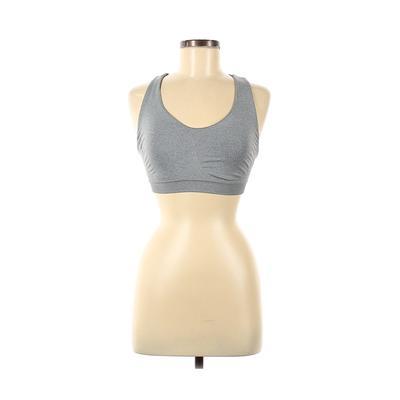 Pop Fit Sports Bra: Gray Solid Activewear - Size Medium