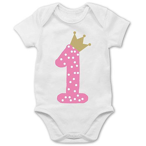 Baby Geburtstag Geburtstagsgeschenk 1. Geburtstag Krone Mädchen Erster Bodys Kinder weiß Baby