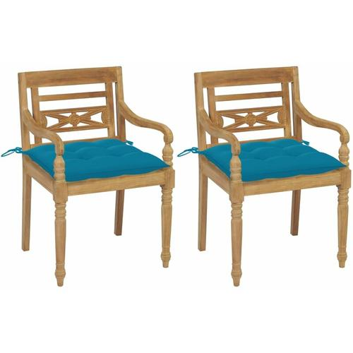 Batavia-Stühle 2 Stk. mit Hellblauen Kissen Teak Massivholz