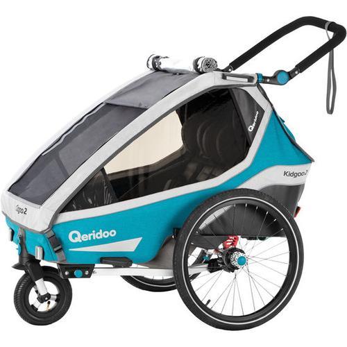 Fahrradanhänger Qeridoo® Kidgoo2, Modell 2020, petrol, blau