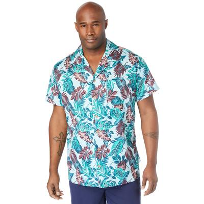 Men's Big & Tall 4-Way Stretch Button Down Shirt by Meekos in Floral (Size 6XL)