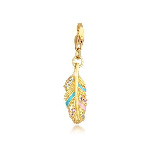 Charm Feder Emaille Kristalle Boho 925 Silber Nenalina Gold