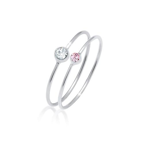 Ring Set Basic Trend Kristalle 925 Silber Elli Rosa