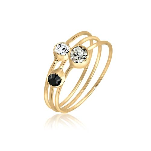 Ring Set Stacking Zart Kristalle 925 Silber Elli Gold