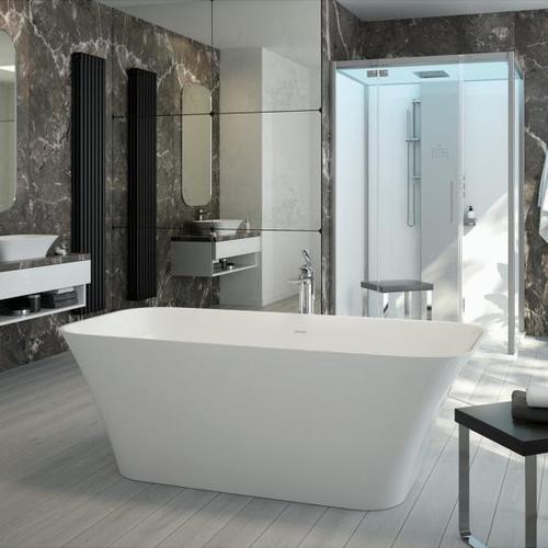 Hoesch LEROS Freistehende Oval-Badewanne L: 180 B: 80 H: 60 cm weiß matt 4470.013