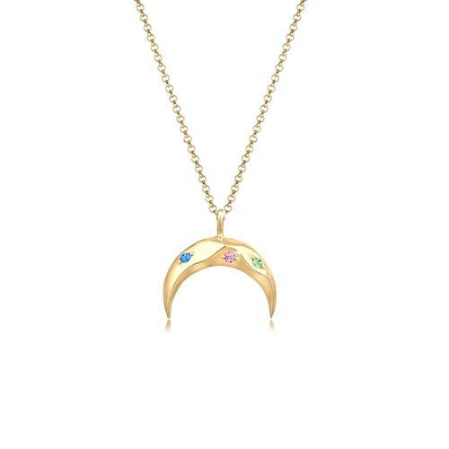 Halskette Sichel Mond Bunt Kristalle 925 Silber Elli Gold