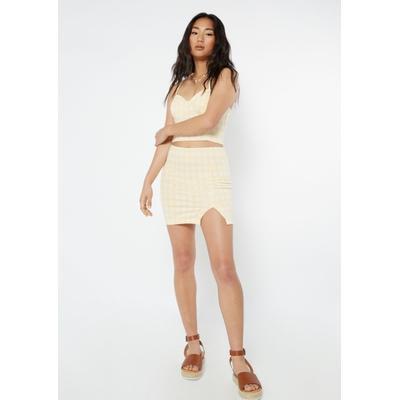 Rue21 Womens Yellow Gingham Plaid Print Thigh Slit Mini Skirt - Size Xl