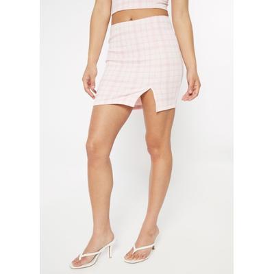 Rue21 Womens Pink Plaid Print Thigh Slit Mini Skirt - Size Xl