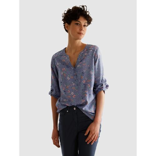 Dress In Schlupfbluse, mit schönem Blumenprint blau Damen Schlupfbluse Schlupfblusen Blusen Tuniken