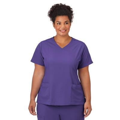 Plus Size Women's Jockey Scrubs Women's Mock Wrap Top by Jockey Encompass Scrubs in Purple (Size M(10-12))