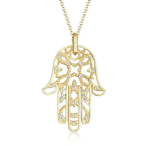 Halskette Hamsa Hand Der Fatima Kristalle 925 Silber Elli Premium Gold