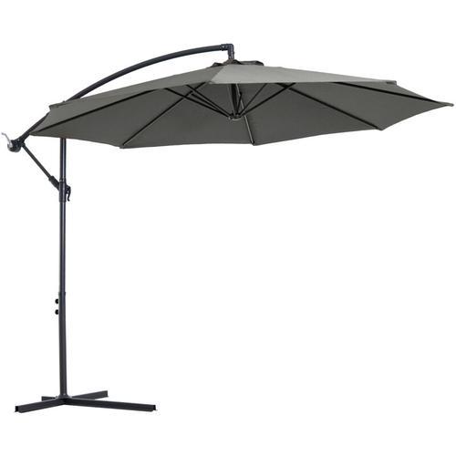 Outsunny® Sonnenschirm abnehmbar Ampelschirm Kurbelschirm mit Handkurbel Grau - grau