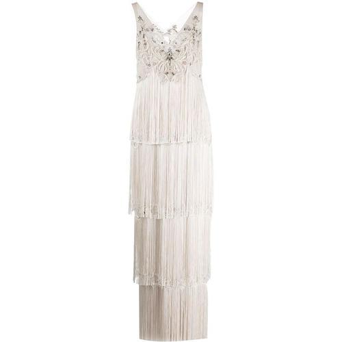Marchesa notte Kleid mit Kristallfransen