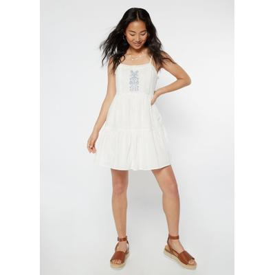 Rue21 Womens White Embroidered Babydoll Tank Dress - Size Xl