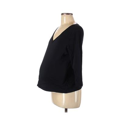 Mimi Maternity 3/4 Sleeve T-Shirt: Black Solid Tops - Size Medium Maternity