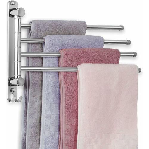 Edelstahl Handtuchhalter Bad Schwenkbar 4 armig Handtuchstange Wandmontage 35CM Handtuchhaltern