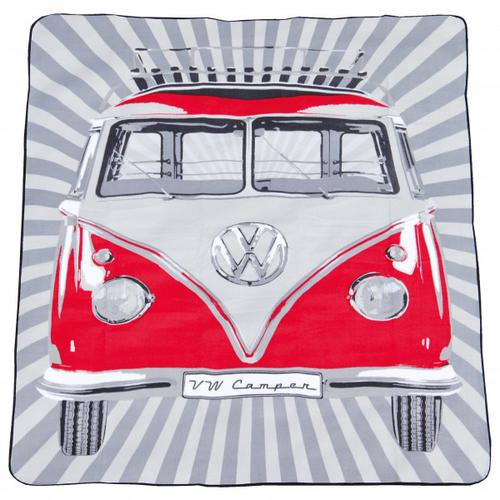VW Collection - VW T1 Bus Picknickdecke - Picknickdecke Gr 150 x 200 cm grau