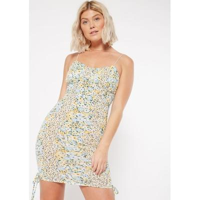 Rue21 Womens Blue Floral Print Ruched Corset Dress - Size M