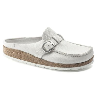 BIRKENSTOCK Buckley Grained Leather White Clogs