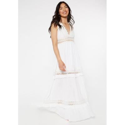 Rue21 Womens White Crochet Inset Deep V Neck Maxi Dress - Size Xs