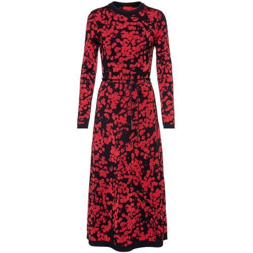 HUGO Jacquard-Kleid in A-Linie mit Kirschblüten-Print