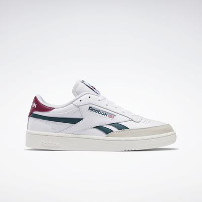 Reebok Men's Club C Revenge Shoes in Ftwr White/Midnight Pine/Punch Berry Size 11 - Lifestyle Shoes