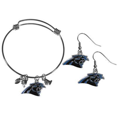 Carolina Panthers Dangle Earrings and Charm Bangle Bracelet Set - Siskiyou Buckle FDEN170CBB