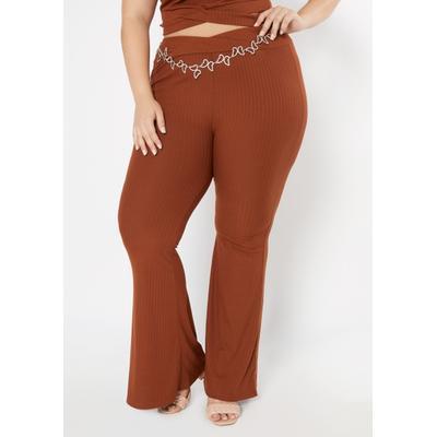 Rue21 Womens Plus Size Black Super Soft Ribbed Knit Flare Pants - Size 1X