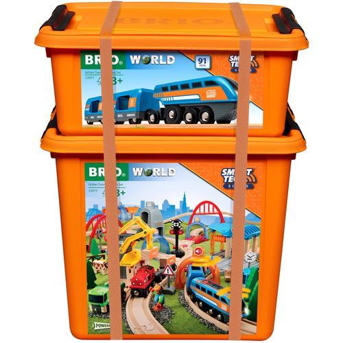 BRIO Spielzeug-Eisenbahn Smart Tech Sound Deluxe Set, mit Soundeffekten, app-fähig bunt Kinder Kindereisenbahnen Autos, Eisenbahn Modellbau