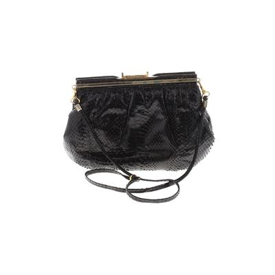 Unbranded - Leather Crossbody Bag: Black Solid Bags