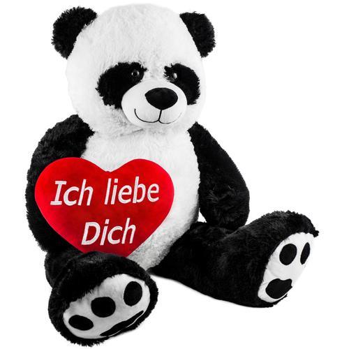 Brubaker XXL Panda 100cm mit einem Ich liebe Dich Herz Stofftier