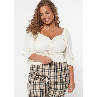 Rue21 Womens Plus Size White Ruched Smock Front Long Sleeve Top - Size 4X