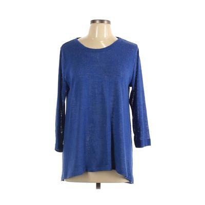 Philosophy Republic Clothing - Philosophy Republic Clothing 3/4 Sleeve T-Shirt: Blue Solid Tops - Size Large