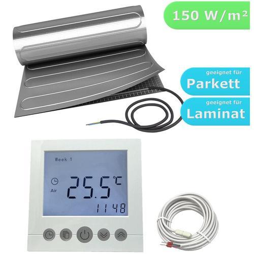 HoWaTech AL 520 Elektrische Laminat Fußbodenheizung | Set mit Heizmatte und Regler Digital: 1.00m²