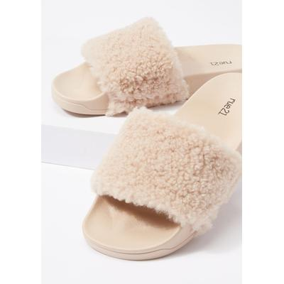 Rue21 Womens Taupe Fluffy Strap Slide Sandals - Size 6