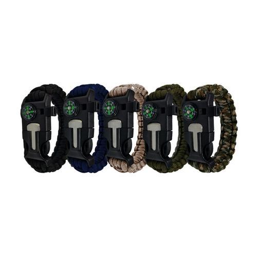 Survival-Armband: 4/ 2x Grün + 2x Khaki