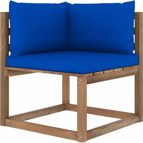 Garten-Paletten-Ecksofa mit Blauen Kissen