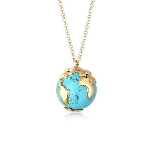 Halskette Erbskette Globus Weltkugel Syn. Howlith 925 Silber Elli Gold