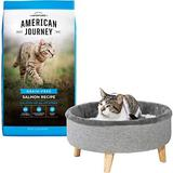 American Journey Salmon Recipe Grain-Free Dry Cat Food, 12-lb bag + Frisco Modern Round Elevated Cat Bed