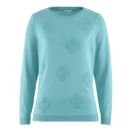 Avena Damen Pullover Blüten-Jacquard Blau