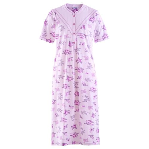 Avena Damen Baumwoll-Nachthemd Blütendessin Rose