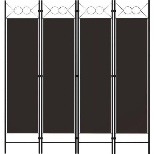 4-tlg. Raumteiler Braun 160 x 180 cm