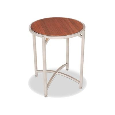 """Forbes Industries 7033W-24 30"""" Round Collapsible Table w/ Hardwood Top & Brushed Stainless Frame - 24""""H"""