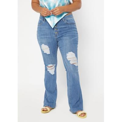 Rue21 Womens Plus Size Medium Wash High Rise Exposed Button Flare Jeans - Size 16