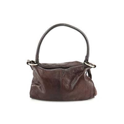 Sven Berkeley - Sven Berkeley Leather Shoulder Bag: Brown Solid Bags
